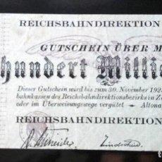 Billetes extranjeros: ALEMANIA 100 MILLONES MARCOS, ALTONA 1-10-1923. Lote 110785531