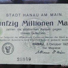 Billetes extranjeros: ALEMANIA 50 MILLONES MARCOS,HANAU 3-10-1923 (UNIFAZ). Lote 110788011