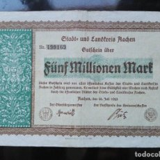 Billetes extranjeros: ALEMANIA 5 MILLONES MARCOS, AACHEN 20-7-1923. Lote 110789099