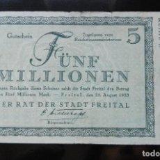 Billetes extranjeros: ALEMANIA 5 MILLONES MARCOS, FREITAL 25-8-1923. Lote 110789191
