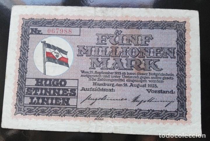 ALEMANIA 5 MILLONES MARCOS, HAMBURGO 18-8-1923 (Numismática - Notafilia - Billetes Extranjeros)