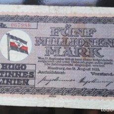 Billetes extranjeros: ALEMANIA 5 MILLONES MARCOS, HAMBURGO 18-8-1923. Lote 110789451