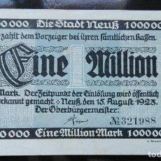 Billetes extranjeros: ALEMANIA 1 MILLÓN MARCOS 15-8-1923. Lote 110789771