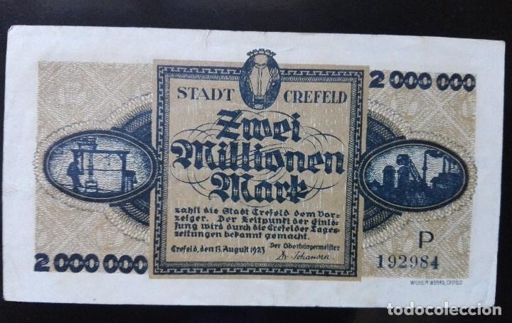 ALEMANIA 2 MILLONES MARCOS, CREFELD 15-8 -1923 (Numismática - Notafilia - Billetes Extranjeros)