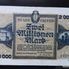 Billetes extranjeros: ALEMANIA 2 MILLONES MARCOS, CREFELD 15-8 -1923. Lote 110790207