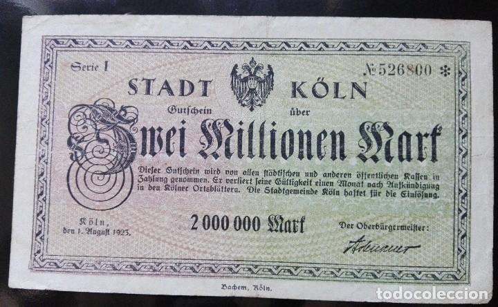 ALEMANIA 2 MILLONES MARCOS, KOLN 1-8-1925 (Numismática - Notafilia - Billetes Extranjeros)