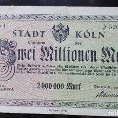 Billetes extranjeros: ALEMANIA 2 MILLONES MARCOS, KOLN 1-8-1925. Lote 110790307