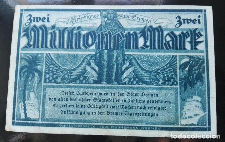 ALEMANIA 2 MILLONES MARCOS , BREMEN 17-8-1923 (Numismática - Notafilia - Billetes Extranjeros)