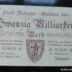 Billetes extranjeros: ALEMANIA 20000 MILLONES DE MARCOS, WALDSHUT 25-10-1923 (ESCASO). Lote 110804351