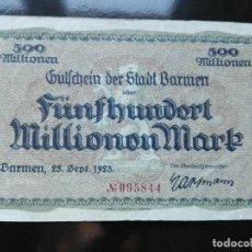Billetes extranjeros: ALEMANIA 500 MILLONES MARCOS, BARMEN 25-9-1923. Lote 110805475
