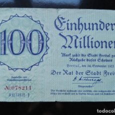 Billetes extranjeros: ALEMANIA 100 MILLONES MARCOS, FREITAL 24-9-1923. Lote 110806371