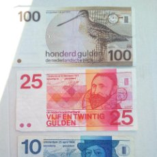 Billetes extranjeros: 3 ANTIGUOS BILLETES 100,25,10 DE FLORINES HOLANDESES . Lote 110891350
