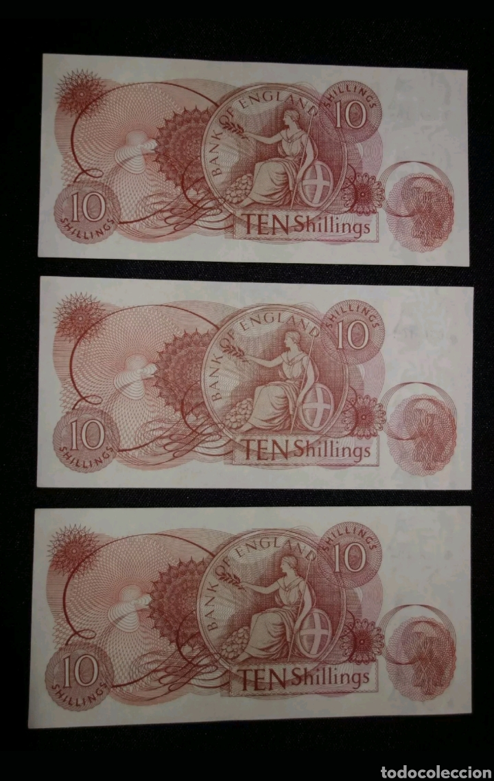 Internationale Banknoten: Trío correlativo 10 Chelines Banco de Inglaterra, Reino Unido / 10./ Bank of England, UK 1967 - Foto 2 - 111453460