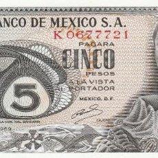 Billetes extranjeros: MEXICO- 5 PESOS- 1969-SC. Lote 111460527