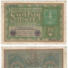 Billetes extranjeros: ALEMANIA - GERMANY 50 MARK 1919, REHIE 2 PICK 66.2. Lote 111545183
