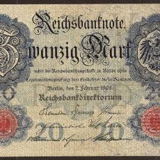 Billetes extranjeros: ALEMANIA. 20 MARK 7.2.1908. PICK 31.. Lote 111607778