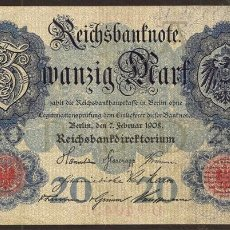 Billetes extranjeros: ALEMANIA. 20 MARK 7.2.1908. PICK 31.. Lote 111608088