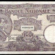Billetes extranjeros: BELGICA 100 FRANCOS 1921 MBC+. Lote 111847927