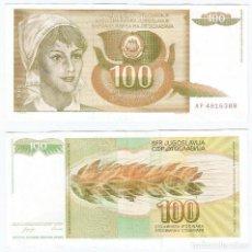 Billetes extranjeros: YUGOSLAVIA 100 DINARA 1990 PICK 105. Lote 111925915