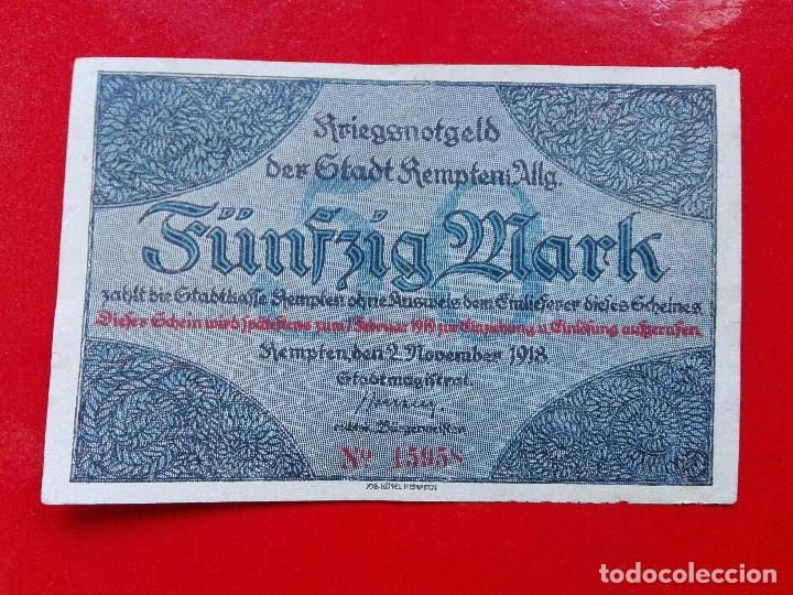 ALEMANIA 50 MARCOS, KEMPTEN 1918 (Numismática - Notafilia - Billetes Extranjeros)