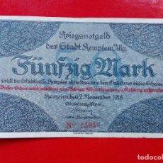 Billetes extranjeros: ALEMANIA 50 MARCOS, KEMPTEN 1918. Lote 112050315