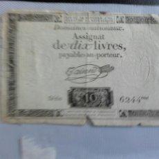 Billetes extranjeros: BILLETE RARO FRANCIA , DOMAINES NATIONAUX ASSIGNAT DE DIX LIVRES 1792 , EBC+ , ORIGINAL ,. Lote 112137398