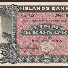 Billetes extranjeros: ISLANDIA. BONITO 5 KRONUR 1920. PICK 15 R. S/C. . Lote 112711695