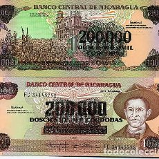 Billetes extranjeros: NICARAGUA 200000 / 1000 CORDOBA 1990 UNC P-162. Lote 194288495