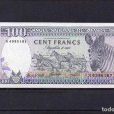 Billetes extranjeros: RWANDA 1989, 100 FRANCS, P-19A, SC-UNC, 2 ESCANER. Lote 113047631