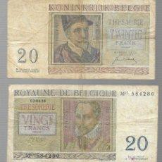 Billetes extranjeros: BILLETE - ROYALME DE BELGIQUE - VINGT FRANCS - 01-07-50 - CIRCULADO. Lote 113106319
