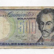 Billetes extranjeros: BILLETE BANCO CENTRAL DE VENEZUELA - 500 BOLIVARES - FEBRERO 3 1987 - . Lote 113106719