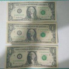 Billetes extranjeros: 3 BILLETES DE 1 DOLAR SERIES 1988 Y 1993 WHACHITON.MS. Lote 113301554