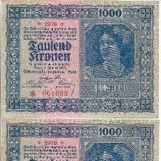 Billetes extranjeros: 3 - BILLETE 1.999 - BIEN, 2 JANNER 1922 - PLANCHA - SIN SERIE - NUMERACION CORRELATIVA. Lote 113316475