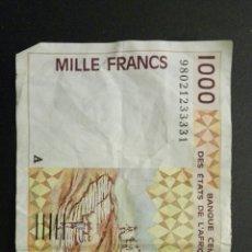 Billetes extranjeros: COSTA DE MARFIL 1000 FRANCS 1992 99. Lote 113348134