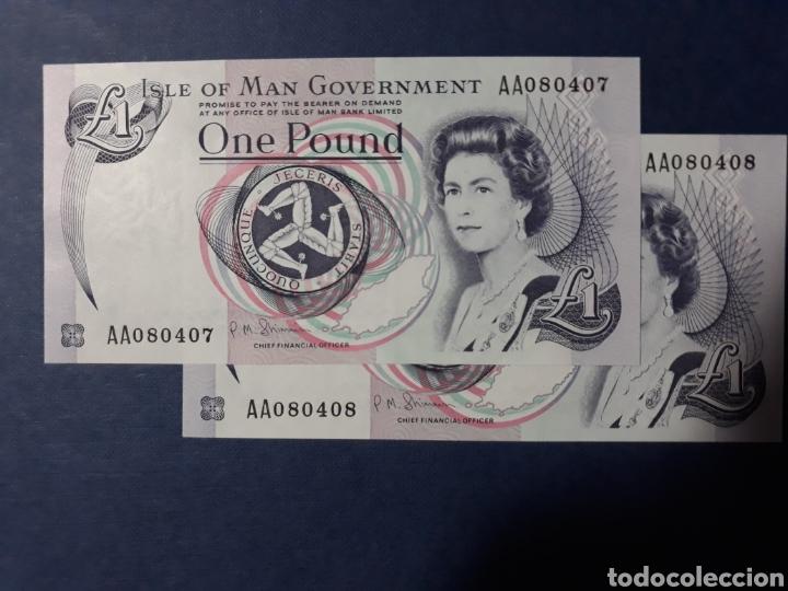 ISLA DE MAN PAREJA CORRELATIVA SERIE AA SIN CIRCULAR (Numismatik - Notaphilie - Internationale Banknoten)