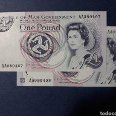 Billetes extranjeros: ISLA DE MAN PAREJA CORRELATIVA SERIE AA SIN CIRCULAR. Lote 113348395