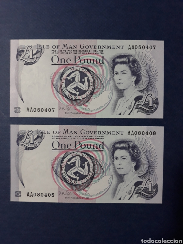 Internationale Banknoten: Isla de Man Pareja correlativa serie AA Sin Circular - Foto 2 - 113348395