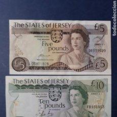 Billetes extranjeros: MUY DIFÍCILES DE ENCONTRAR, 5 Y 10 LIBRAS DE ISLA DE JERSEY 1976 - 1988 ISLAS DEL CANAL. Lote 113348878