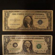 Billetes extranjeros: DOS BILLETES DE UN DÓLAR AMERICANO. 1 CON SELLO AZUL 1935 Y EL OTRO VERDE 2008. Lote 113349036