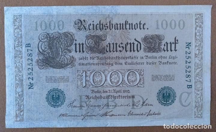 BILLETE DE 1.000 MARCOS ALEMANIA 1910 19 X 11 CM (APROX) (Numismática - Notafilia - Billetes Extranjeros)