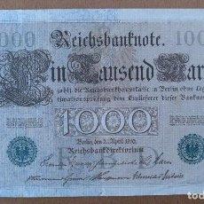 Billetes extranjeros: BILLETE DE 1.000 MARCOS ALEMANIA 1910 19 X 11 CM (APROX). Lote 113818135