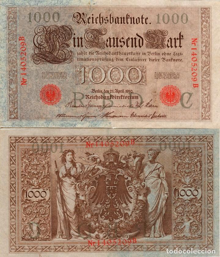 ALEMANIA * 1000 MARCOS 1910 * SELLO ROJO (Numismática - Notafilia - Billetes Extranjeros)