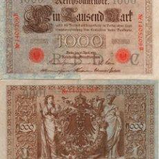 Billetes extranjeros: ALEMANIA * 1000 MARCOS 1910 * SELLO ROJO . Lote 114019123