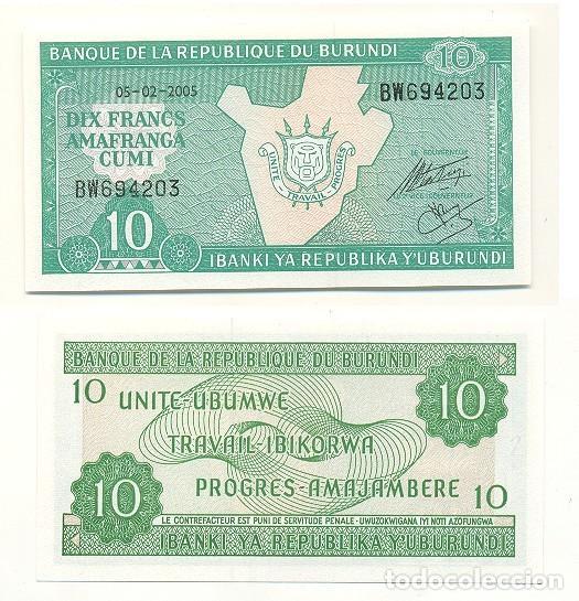 BURUNDI 10 FRANCS 1991 UNCIRCULATED P 33b