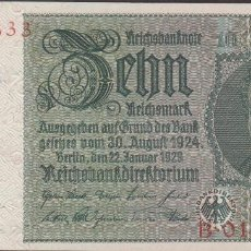 Billetes extranjeros: BILLETES - GERMANY-ALEMANIA - 10 REICHSMARK 1929 - SERIE B - KM-180B (SC). Lote 114313311