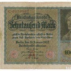 Billetes extranjeros: ALEMANIA - 10000 MARCOS - 1922. Lote 114712667