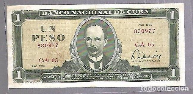 BILLETE. BANCO NACIONAL DE CUBA. UN PESO. 1982. REPUBLICA DE CUBA. VER (Numismática - Notafilia - Billetes Extranjeros)