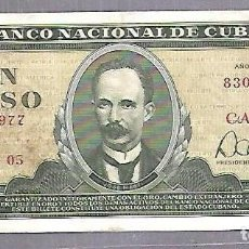 Billetes extranjeros: BILLETE. BANCO NACIONAL DE CUBA. UN PESO. 1982. REPUBLICA DE CUBA. VER. Lote 114954783