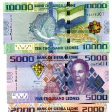 Billetes extranjeros: SIERRA LEONE 1000 2000 5000 10000 LEONES 2010 P-30,31,32,33 UNC FULL SET 4 PCS . Lote 115100815