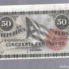 Billetes extranjeros: BILLETE. LA REPUBLICA DE CUBA. 50 CENTAVOS. 1869. SIN NUMERACION. VER. Lote 115175367